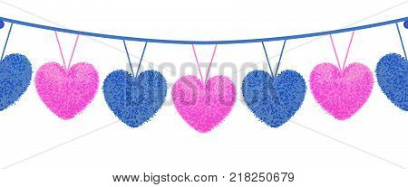 Vector colorful illustration of decortive elements with pom-poms in shape of heart hanging on the ropes as garland isolated on white background. Decor for Valentines day design. Seamless pattern