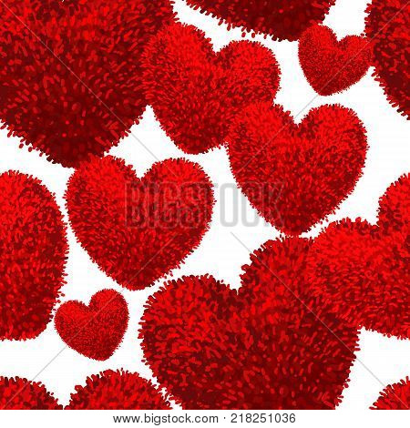 Vector seamless pattern with fluffy soft toys in shape of a heart on white background. Modern illustration For wallpaper, pattern fills, web page, surface textures, textile print, wrapping paper.