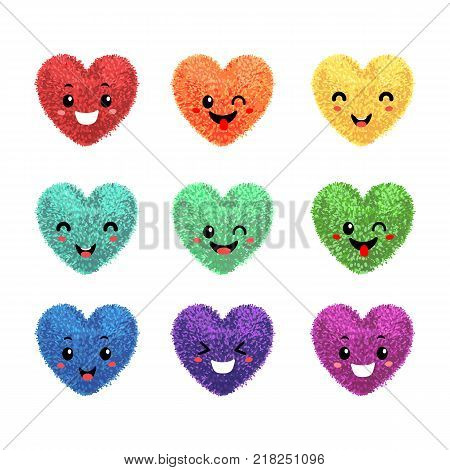 Vector colorful set with illustration fluffy pom-poms in the shape of a heart with funny faces isolated on white background. Decorative elements for Valentines day design.