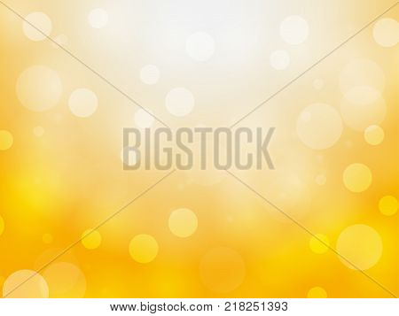 abstract yellow bokeh circles and light on yellow background using for christmas or happy new year