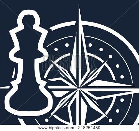 On a dark blue background a white chess piece and a compass. Simple pure vector illustration - concept of strategy planning making smart strategic decisions