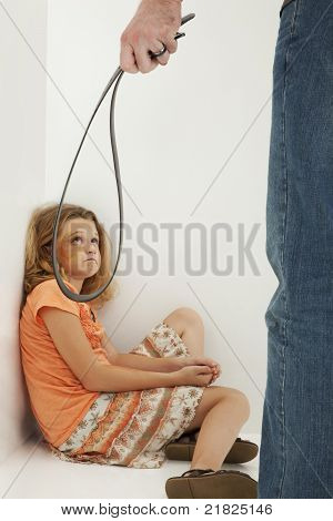 Child Abuse With Father And Crying Bruised Daughter