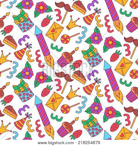 Birthday party colorful doodle icons seamless vector pattern