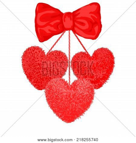 Vector colorful illustration of decortive elements with red pom-poms in the shape of a heart hanging on the ropes with bow isolated on white background. Decor for Valentines day design.