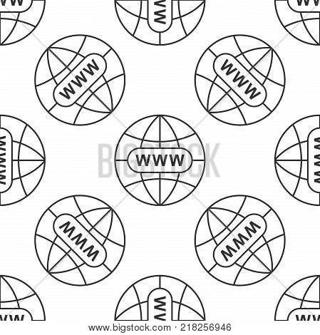 Go To Web icon seamless pattern on white background. Www icon. Website pictogram. World wide web symbol. Internet symbol for your web site design, logo, app, UI. Flat design. Vector Illustration