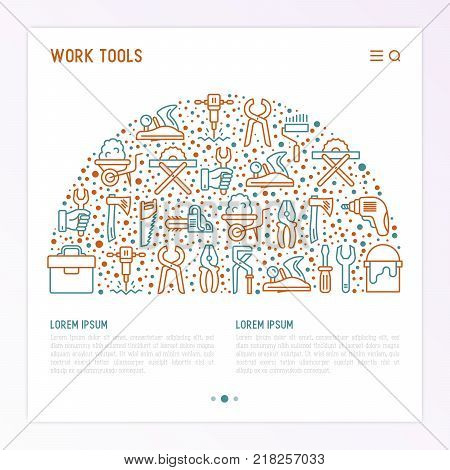 Work tools concept in half circle with thin line icons: puncher, drill, wrench, plane, toolbox, wheelbarrow, saw, pliers, sawing machine. Modern vector illustration of building equipment for web page.