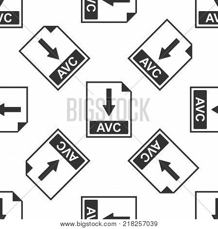 AVC file document icon. Download AVC button icon seamless pattern on white background. Flat design. Vector Illustration