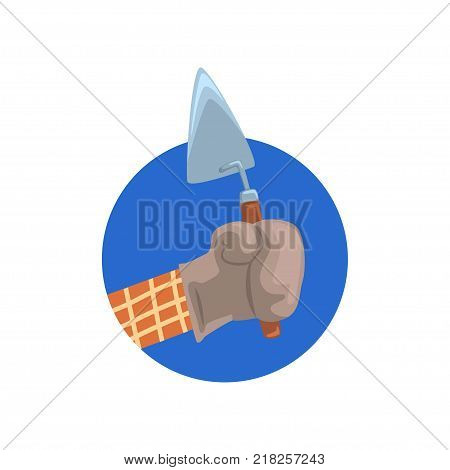 Hand holding building trowel, symbol of the profession of a builder cartoon vector Illustration on a white background