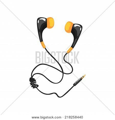Earphones with adapter cord, music technology accessory cartoon vector Illustration on a white background