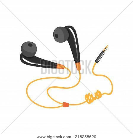 Black earphones with adapter cord, music technology accessory cartoon vector Illustration on a white background