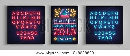 Happy New Year 2018 Poster Vector Illustration. Neon sign, luminous banner. Brochure design in a neon-style invitation template. Postcard, flyer, card, party promotion. Editing text neon sign.