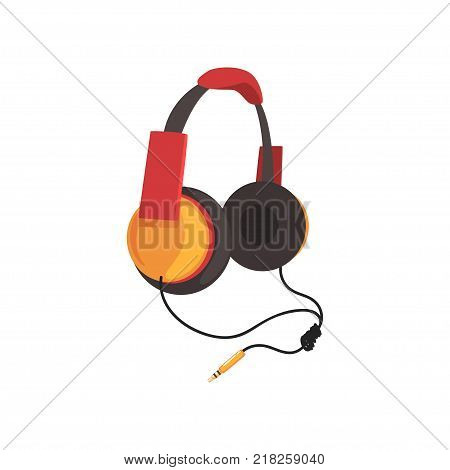 Red and yellow headphones with headband and adapter cord, music technology accessory cartoon vector Illustration on a white background