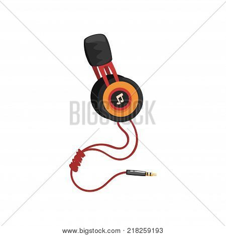 Earphones with headband and adapter cord, music technology accessory cartoon vector Illustration on a white background