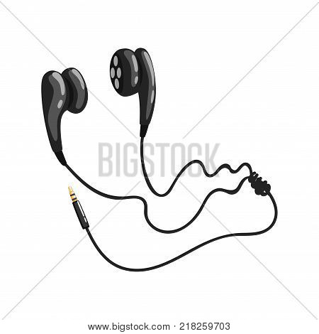 Black corded earphones or earbuds, music technology accessory cartoon vector Illustration on a white background