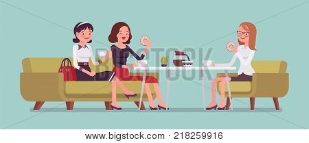 Girls sitting in a cafe. Female friendly informal meeting for refreshment and talk, having light meals and drinks in a small restaurant, chatting together. Vector flat style cartoon illustration