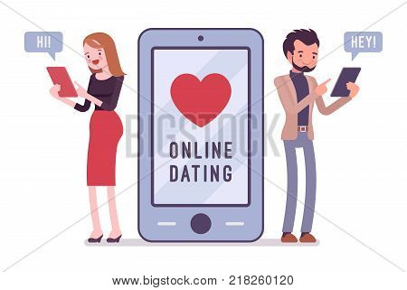 Online dating chat. Young man and woman starting a romantic relationship on internet, searching for partner online, arrange meeting. Vector flat style cartoon illustration isolated on white background