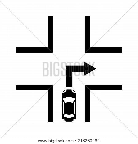 The movement of the car to the right icon. navigation symbol. Flat design. Stock - Vector illustration