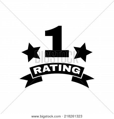The first place rating icon. Ranking and classification, star symbol. Flat design. Stock - Vector illustration