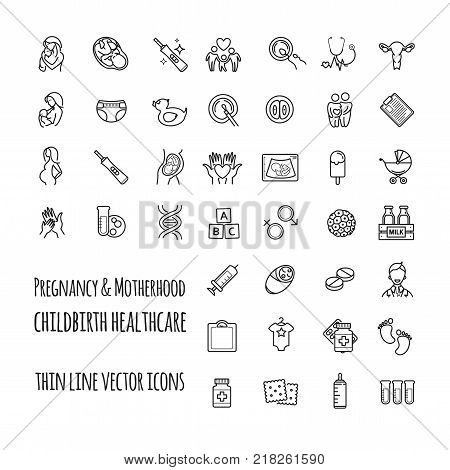 Pregnancy, fertilization and motherhood vector icon set. Gynecology, childbirth healthcare thin line icons set for your design