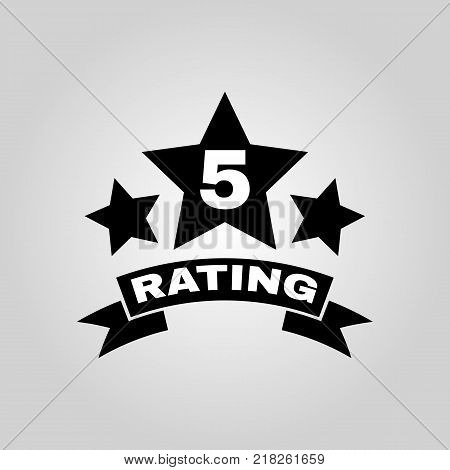 The fifth place rating icon. Ranking and classification, star symbol. Flat design. Stock - Vector illustration