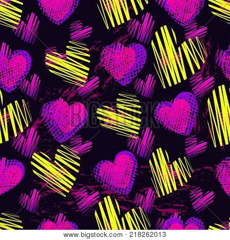 Abstract Seamless Heart Pattern For Girls,boys. Creative Vector Background With Hearts, Cute Girlish