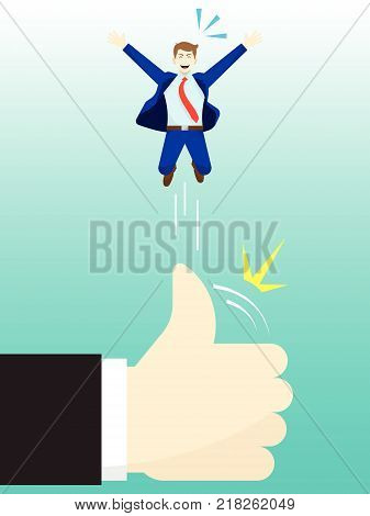 Vector Illustration Business Concept As A Giant Hand Is Flicking Businessman Up High By Thumb. He Is Delightful And Using Admiration Respect Social Esteem As Opportunity for Better Self Performance.