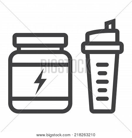 Whey protein with sports shaker line icon, fitness and sport, nutrition sign vector graphics, a linear pattern on a white background, eps 10.