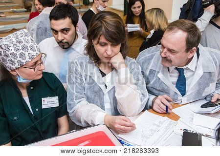 Ufa, Russia December 10, 2017: International Medical Olympiad for Surgery. Students practice and compete in open-heart surgery