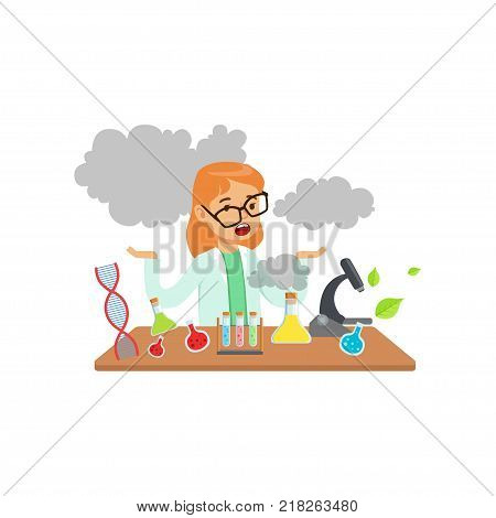Girl scientist after a failed experiment, schoolgirl at chemistry lesson vector Illustration on a white background