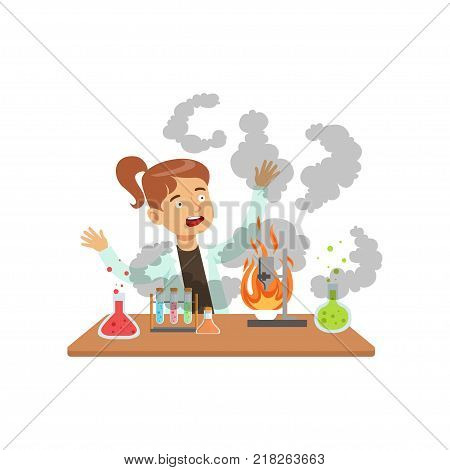 Girl scientist after a failed experiment, mixture explosion, schoolgirl at chemistry lesson vector Illustration on a white background