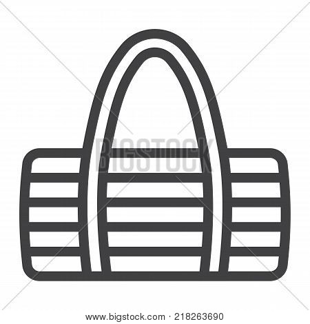 Fitness bag line icon, fitness and sport, sport bag sign vector graphics, a linear pattern on a white background, eps 10.