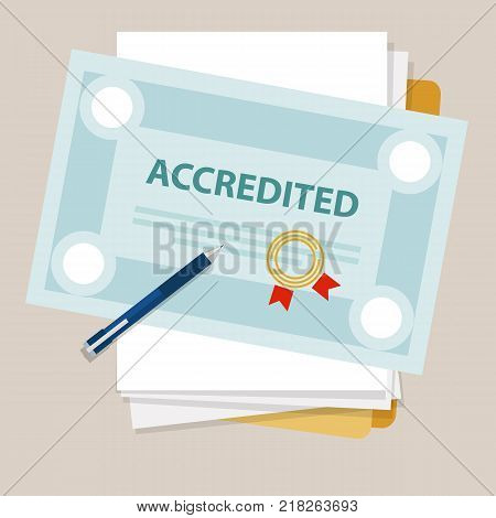 accredited authorized organization business certificate paper with stamp vector