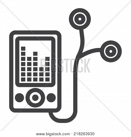 Mp player device line icon, fitness and audio, music sign vector graphics, a linear pattern on a white background, eps 10.
