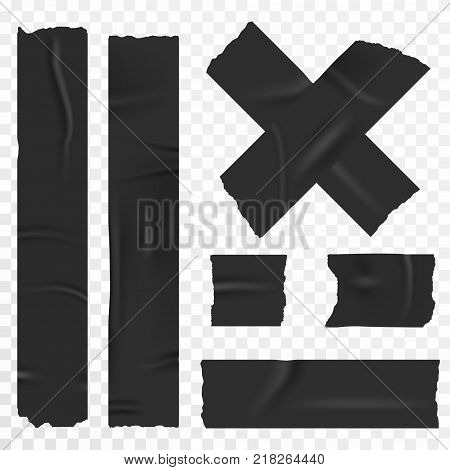 Adhesive tape set on transparent background. Realistic duct tape scotch stripes. Vector