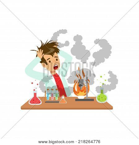 Boy after a failed chemical experiment, mixture explosion, scientist experimenting in science chemistry laboratory vector Illustration on a white background