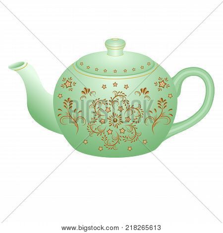Porcelain teapot for tea set ornate with golden vintage pattern. Isolated object vector illustration. White teapot with golden oriental traditional ornament