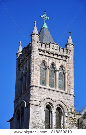 The Cathedral of the Immaculate Conception on Columbus Circle in downtown Syracuse, New York State, USA.