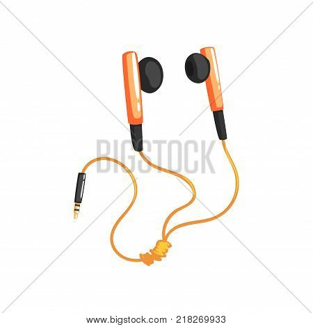 Earphones or earbuds with adapter cord, music technology accessory cartoon vector Illustration on a white background