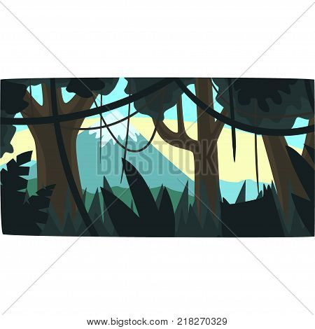 Tropical jungle, greenwood background with leaves, bushes and trees, tropical rainforest scenery in a morning time vector illustration, forest backdrop