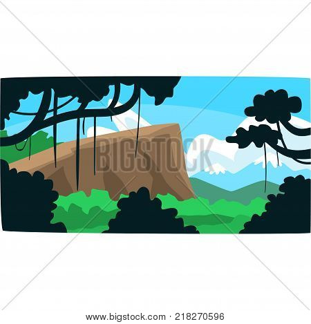 Tropical jungle, greenwood background with leaves, bushes and trees, tropical rainforest scenery in a vector illustration, forest backdrop