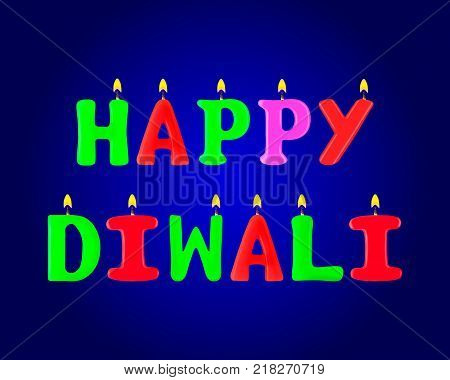 Happy Diwali banner. Letters in the form of candles. 3d. Stock - Vector illustration