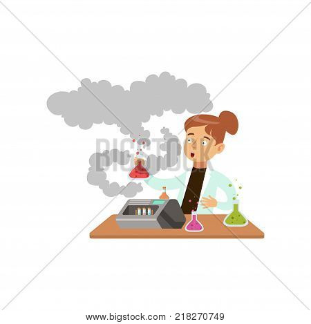 Scared girl after a failed chemical experiment, schoolgirl scientist experimenting in science chemistry laboratory vector Illustration on a white background
