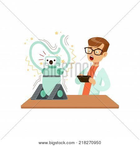 Boy after a failed experiment with robot, schoolboy doing science research vector Illustration on a white background