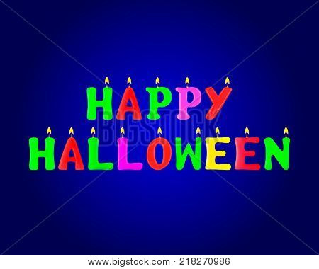 Happy Halloween banner. Letters in the form of candles. 3d. Stock - Vector illustration