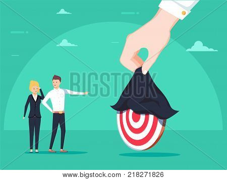 Uncovering Target. A hand holding uncovering hidden target. Business vector concept illustration. Goal achieve concept. Businessman and businesswoman focusing on a new marketing target