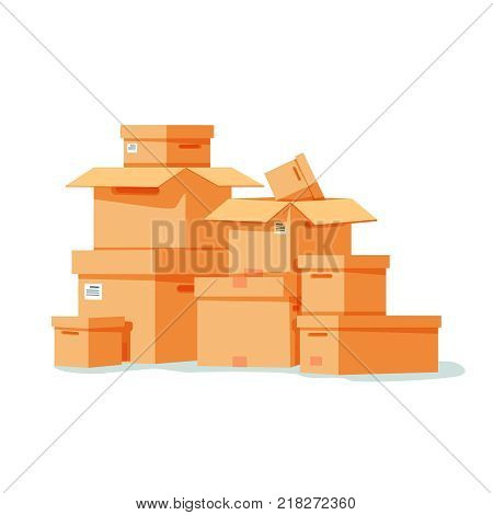 Pile of stacked sealed goods cardboard boxes. vector illustration in flat style. Isolated on white background. Set of goods parcel, package. Shipping delivery concept.