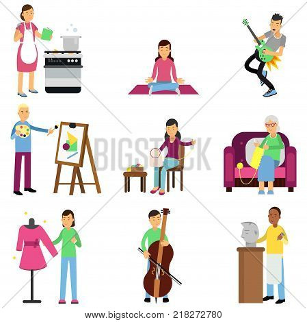 Creative set of adult people and their relaxing and artistic hobbies. Cooking, painting, playing guitar and bass, embroidery, knitting, sewing, sculpting. Cartoon vector characters isolated on white.