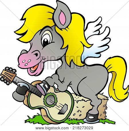 Cartoon Vector illustration of a Pony Hors there is playing on a guitar