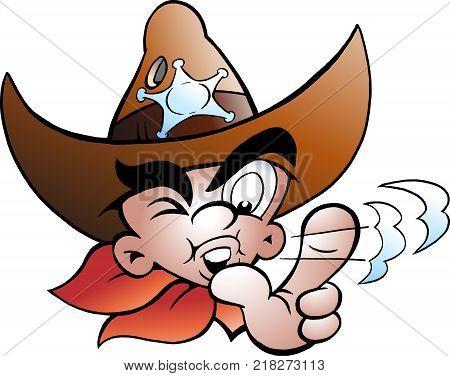 Cartoon Vector illustration of an Young Cowboy Sherif