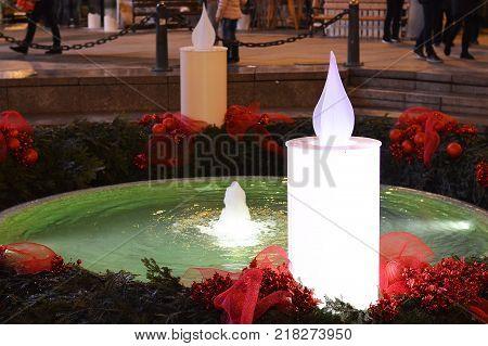 Advent in Zagreb, Croatia, Mandusevac fountain decorated with advent wreath